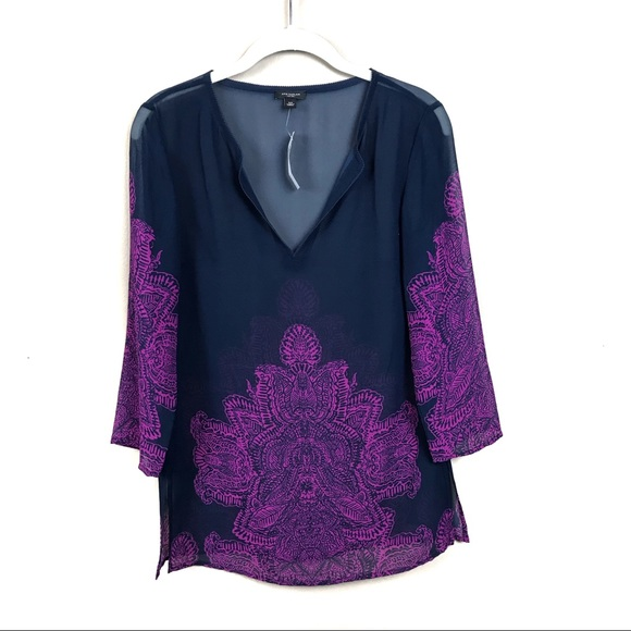 Ann Taylor Tops - New with tags Ann Taylor navy purple sheer top